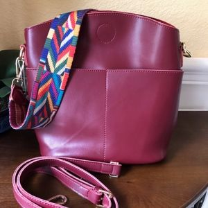 Everyday Red Italian Leather Shoulder Bag